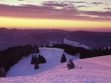 Sunrise on Belchen Mountain in Winter, Black Forest, Baden Wurttemberg, Germany, Europe Photographic Print by Marcus Lange