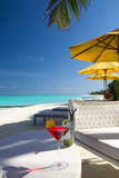 Cocktails on Tropical Beach, Maldives, Indian Ocean, Asia Photographic Print by  Sakis