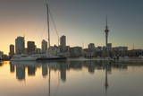 Sky Tower and Viaduct Harbour at Dawn, Auckland, North Island, New Zealand, Pacific Photographic Print by  Ian