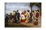 Poussin Presented to King Louis XIII by Cardinal Richelieu, 1832 Posters by Jean Alaux