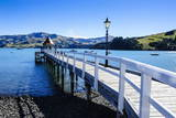 Long Wooden Pier in Akaroa, Banks Peninsula, Canterbury, South Island, New Zealand, Pacific Photographic Print by  Michael