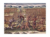 Indian Chief Outina Fights Against His Enemy Potanu Posters por Theodor de Bry