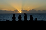 Moai Figures at Sunset Photo
