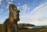 Moai with Poike Peninsula in the Background Photo