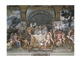 The Noble Banquet Premium Giclée-tryk af Romano, Giulio
