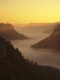 View from Eichfelsen Rock on Schloss Werenwag Castle and Danube Valley at Sunrise Photographic Print by Markus Lange