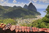 Souvenir Stall with View of the Pitons and Soufriere Photographic Print by  Eleanor