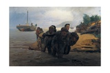 Barge Haulers Wading Print by Ilya Yefimovich Repin