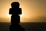 Moai Figure at Sunset Photo