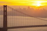 Sillouette of the Golden Gate Bridge and San Francisco Skyline at Sunrise Photographic Print by  Miles