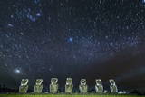 Seven Moai under the Stars Photographic Print by  Michael