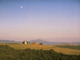 Chapel and Moon, Near Pienza, Siena Province, Tuscany, Italy, Europe Photographic Print by John Miller