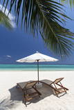 Lounge Chairs on Tropical Beach, Maldives, Indian Ocean, Asia Photographic Print by  Sakis