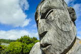 Traditional Wood Carved Mask in the Te Puia Maori Cultural Center Photographic Print by  Michael