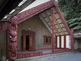 Carved Meeting House Te Tumu Herenga Waka on Marae at Victoria University Photographic Print by Nick Servian