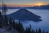 Sunrise over Crater Lake and Wizard Island Photographic Print by  James
