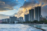 Late Afternoon Light over the High Rise Hotels of Waikiki Beach Photographic Print by  Michael