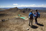 Walkers on the Tongariro Alpine Crossing Above the Emerald Lakes Photographic Print by  Stuart