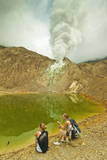 Tourists by Green Crater Lake and Fumaroles at Papandayan Volcano Photographic Print by  Rob