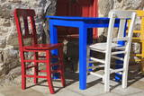 Table and Chairs in Bodrum, Turkey, Anatolia, Asia Minor, Eurasia Photographic Print by  Richard