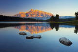 Mount Rundle Reflected in Two Jack Lake at Sunrise Photographic Print by  Miles