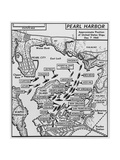 Map of Pearl Harbor with Location of Ships Just Prior to the Japanese Attack on Dec. 7, 1941 Premium Giclee Print