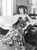 Loretta Young in Black and White Satin Formal Evening Gown Photo