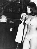 Salvador Dali Sketching Raquel Welch in Publicity Shot for Fantastic Voyage Photo
