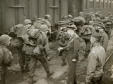 General Dwight Eisenhower Greets Gi's Loaded Down with Full Packs as They Arrive at a French Port Fotografía