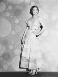 Loretta Young in Pink Organdy Dress with High Waist Line Belt Photo