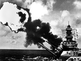 16 Inch Guns of the USS Iowa Firing During World War 2 Battle Drill in the Pacific Photo