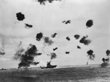 American Aircraft Carrier USS Yorktown Hit by a Japanese Bomb in the Battle of Midway Photo