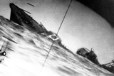 Torpedoed Japanese Destroyer Seen Through Periscope of USS Wahoo or USS Nautilus During World War 2 Posters