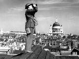 Aircraft Spotter Searches the Sky with Binoculars During the Battle of Britain Photo
