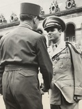 Audie Murphy Shaking Hands with French General De Lattre De Tassigny Photo