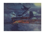 World War 2 German Heavy Bomber in Flight with Wing on Fire Prints