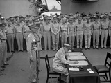 Douglas Macarthur Signs Documents During Japanese Surrender Ceremonies on the USS Missouri in Tokyo Photo
