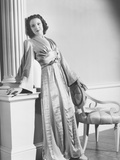 Linda Darnell in a Tea Gown Designed by Royer Prints