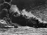 Allied Tanker Torpedoed in Atlantic Ocean by German Submarine During World War 2 Photo