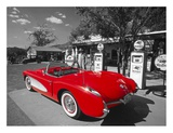 Kerrick James - Red 1957 Corvette at Vintage Gas Station Plakát
