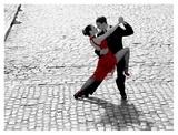 Couple dancing Tango on cobblestone road Plakat