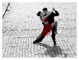 Couple dancing Tango on cobblestone road Reprodukcje