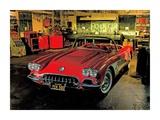 1958 Chevrolet Corvette in Garage Prints by Derek Gardner