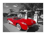 Red 1957 Corvette at Vintage Gas Station Prints by Kerrick James