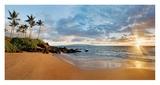 Hawaii, Maui, Makena, Secret Beach at Sunset Affiches par Monica and Michael Sweet