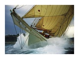 Schooner Adix Sailing in Rough Waters Poster by Onne Van Der Wal