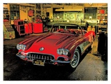 1958 Chevrolet Corvette in Garage Poster by Derek Gardner