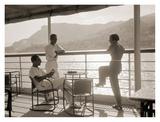 Jeunes Gens Sur le Pont D'Un Bateau Dans la Baie de Monte Carlo, 1920 Posters af Charles Delius
