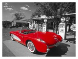 Red 1957 Corvette at Vintage Gas Station Poster av Kerrick James