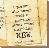 Never Made a Mistake - Albert Einstein Classic Quote Stretched Canvas Print by Jeanne Stevenson